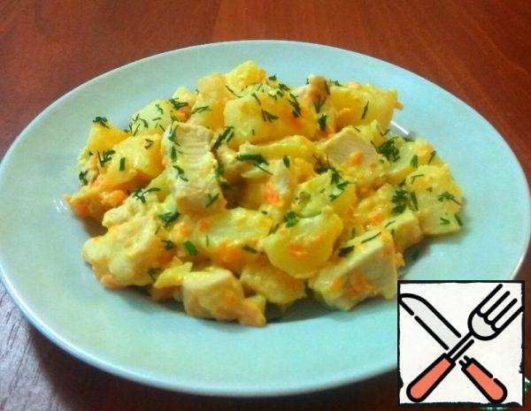 Potatoes with Chicken in Cheese Sauce Recipe