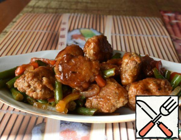 Meatballs with Vegetables in Sweet and Sour Sauce Recipe