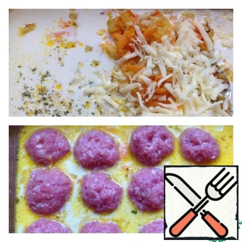 Put the fried vegetables in a baking dish and pour in the milk. Add mozzarella grated on a coarse grater and a pinch of salt ( I have salt with spices Abkhazian). Mix the filling. Form meatballs from the minced meat and put them in the sauce. Send the form to the oven at 190 g for 30 minutes.
