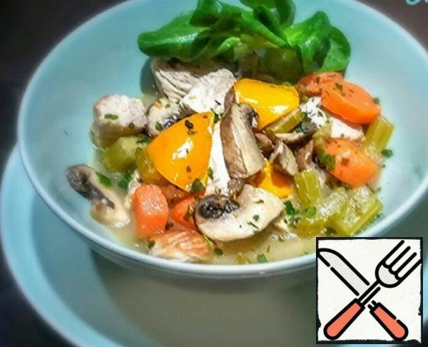 Stewed Turkey with Mushrooms and Vegetables Recipe