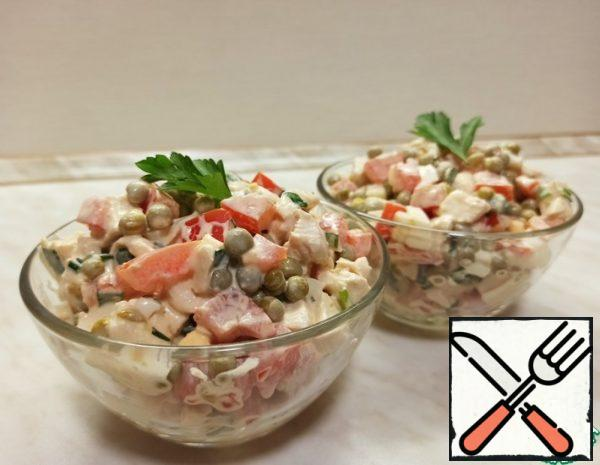 Salad with Chicken, Tomatoes and Peas Recipe