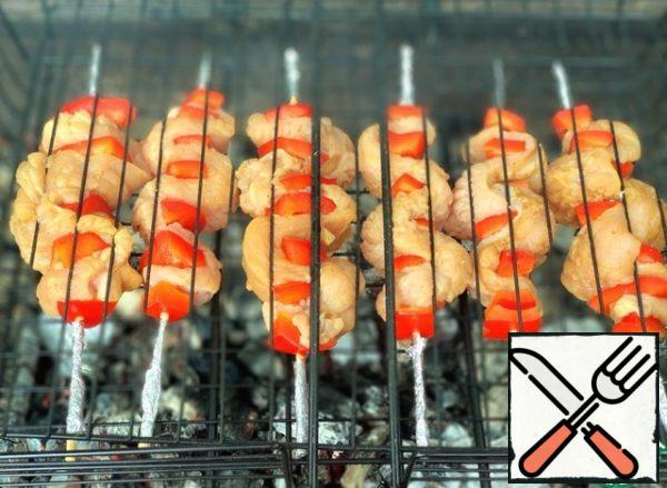 Spread the skewers on the grill. I wrapped the tips of the skewers in foil so they wouldn't burn.