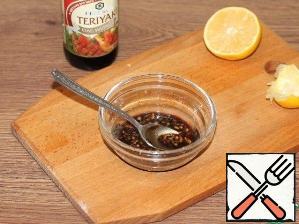 Add the teriyaki marinade sauce, salt and ground pepper. Try the sauce with salt.