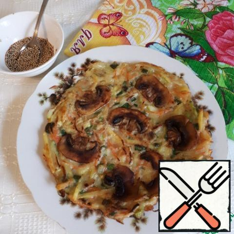 The result is a very tasty vegetable tortilla or vegetable pancake. You can serve it with any sauce to your taste. I made this sauce - 1 tbsp soy sauce,1 tsp vinegar (I took wine) and 1 tsp sesame.