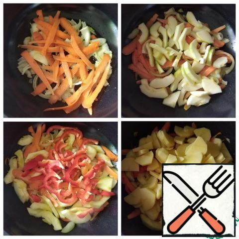 """Vegetables are cut arbitrarily, but do not need to be minced. I'll use a wok for cooking. Wok - a round deep Chinese frying pan with a convex bottom of small diameter. Unlike """"Western"""" pans, a traditional wok has a spherical shape. To find out the number of products in the photo, I will specify the size of my wok. D-28 cm (this is the top ) height-10 cm. You can use a cauldron for cooking. I poured the oil, warmed it and put the onion. I've turned down the heat a little, I don't eat too much fried food. Who likes and eats, fry stronger vegetables. To the onion put carrots, zucchini, bell pepper. The fire is quite strong, so we constantly interfere with vegetables. Add the potatoes. Also fry to your taste."""