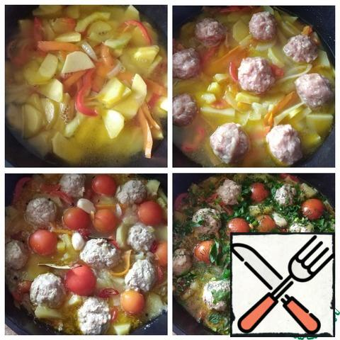 Fill with water 1 cm above the vegetables. Cover with a lid, bring to a boil, reduce the heat to a minimum and cook for 10 minutes. After 10 minutes, salt and spread the meatballs in the vegetables, which we form with wet hands and immediately put on top of the vegetables. From the amount of minced meat that I made, I got 9 pieces of standard meatballs. Cook until tender. This is not long 15-20 minutes. Next, put the tomatoes ( I will put the whole), garlic cloves, black pepper, rings of chopped chili pepper (I have 7 rings about 0.4 cm thick), Bay leaf. I removed the chili seeds. If there are children, do not put chili pepper, it will be sharp. Cook for 3-5 minutes. Sprinkle with chopped herbs and remove from the heat.