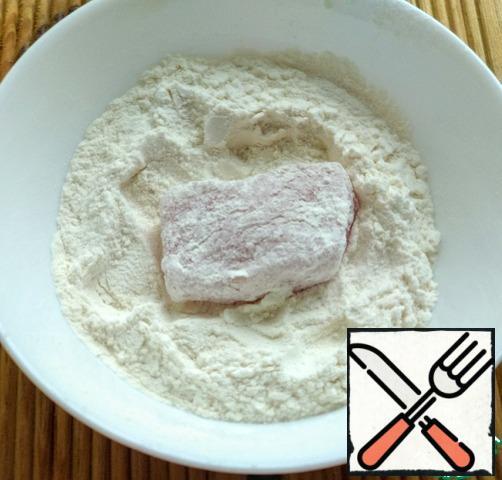 Roll each piece in flour.