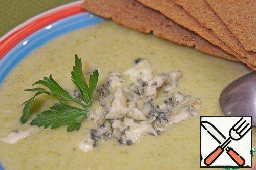 You can serve bread, biscuits or crackers with the soup. Bon Appetit!