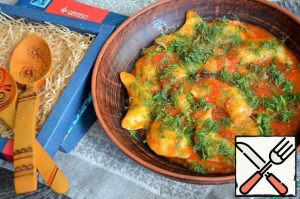 Dumplings with Potatoes in Vegetable Sauce Recipe