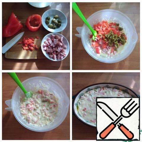 """In addition to the dough, I will add finely chopped bell pepper, ham, and olives. I'll mix everything up again. Put in a form smeared with olive oil and put in the oven for 30 minutes, setting T-180 C. My shape is oval with a large axis-21 cm and small-15 cm, height-4 cm. If you will make a cake from the full norm of ingredients, then the baking time will increase. Focus on your oven. Check for """"dry splinter"""". The cake is ready, the dough does not stick to the splinter, but do not forget that there is a lot of cheese in it and it has melted."""