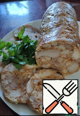 Put the roll in the cold!! water and put on the fire. Cook for 1 hour. After the roll is cooked, take it out of the water and let it cool. After sending the refrigerator for 5 hours, or better at night. That's it!! Insanely delicious roll is ready. Bon Appetit!!