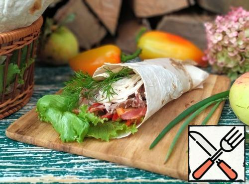 Shawarma is ready. Bon Appetit!!