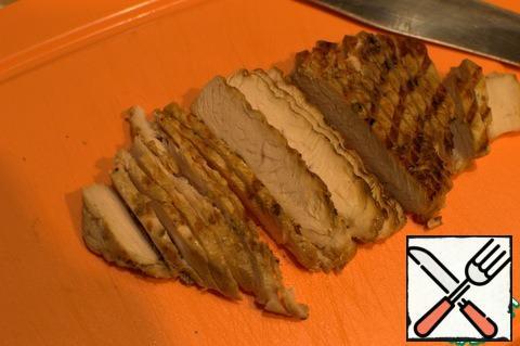 Cut the steaks into chunks.