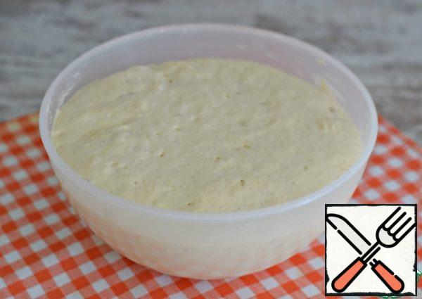 The dough should increase in volume by 2.5-3 times. Using a cooking spatula or spoon, knead the dough right in the bowl.