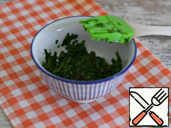 Greens (I have parsley) finely chop. Add a little salt and olive oil to the greens. Stir.