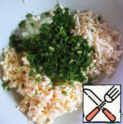 Add finely chopped green onions and dill.
