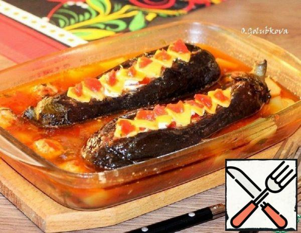 Eggplant Boats with Sauce Filling Recipe