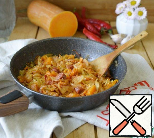 Cabbage Stewed with Pumpkin and Sausage Recipe
