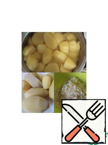 Boil the potatoes and grate them on a fine grater. For convenience, I suggest that you RUB a little undercooked potatoes, and grease the grater with vegetable oil. Mix the flour with the starch and add to the potatoes.