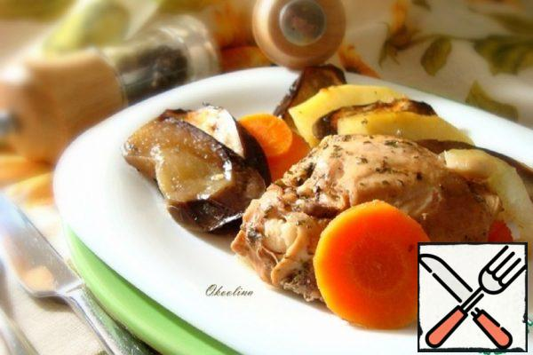 Stewed Chicken Legs with Eggplant, Vegetables Recipe