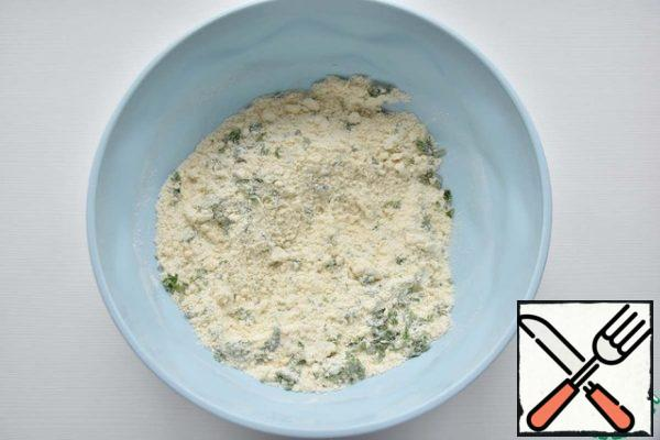 Use your hands to RUB the flour and butter until crumbs form. add the chopped parsley and salt.