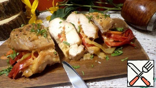 Chicken Breast Stuffed with Vegetables and Cheese Recipe