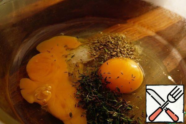 Add salt, thyme and dried oregano.