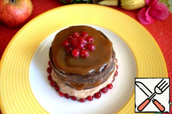 Apply caramel and sprinkle with cranberries for contrast.