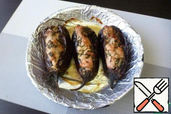 Put the baking sheet in a preheated 200 degree oven for 35-45 minutes. The time depends on the size of the eggplant. The Turkey slices should be browned on top, and the eggplant should be soft.