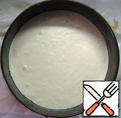 Prepare a baking dish (diameter 20 cm, cover the bottom with parchment, brush the sides with vegetable oil), put half of the dough.