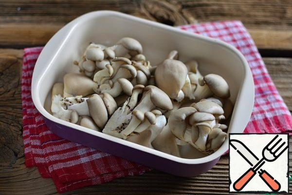 Wash oyster mushrooms and divide them into smaller pieces. Put in a heat-resistant form.