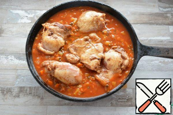 Return the browned chicken to the skillet.  Bring to a boil, reduce heat, and cook over medium heat for about 45 minutes, until lentils are soft and all liquid has been absorbed.  Add water if necessary.