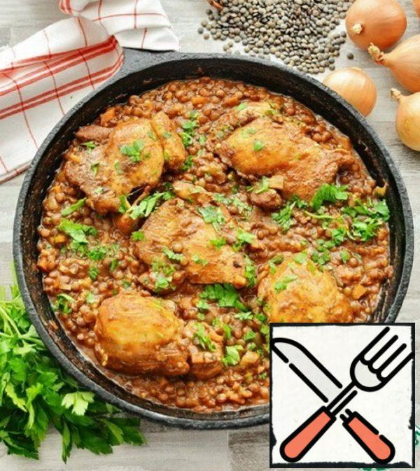 Chicken with Lentils in Tomato Recipe