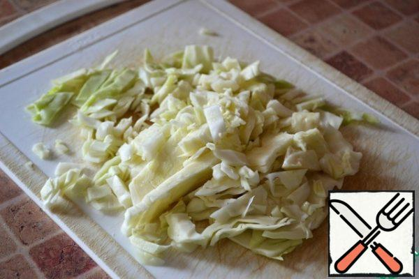 Finely chop the cabbage and RUB it with your hands.