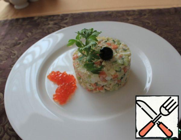 """Salad """"Olivier with Crab Meat"""" Recipe"""