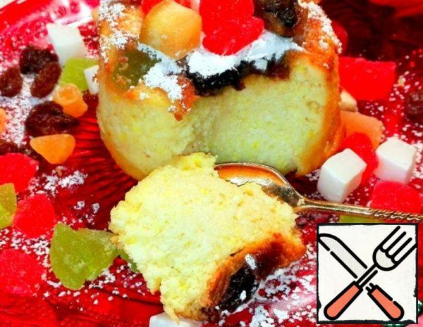 Portioned Cottage Cheese Casserole with Candied Fruits Recipe