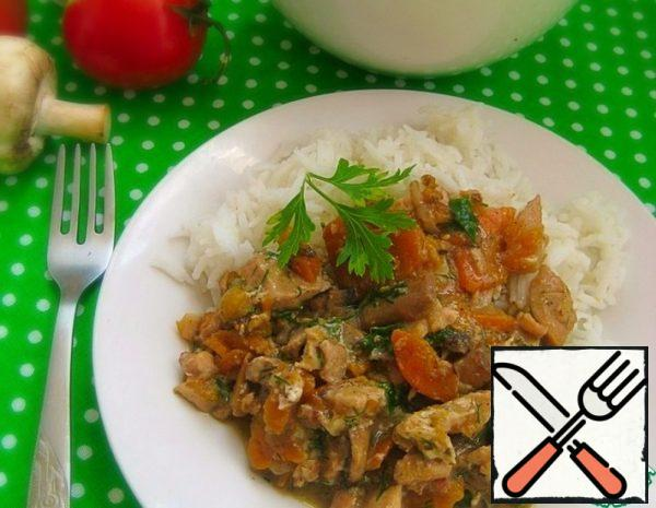 Chicken Meat in Carrot and Mushroom Sauce Recipe
