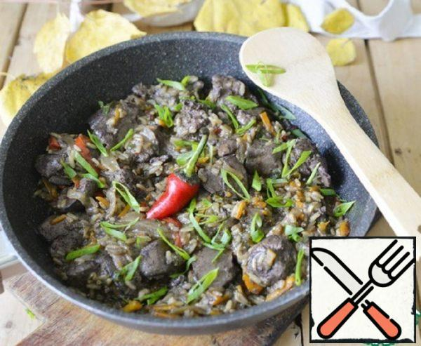 Chicken Liver with Vegetables and Rice Recipe