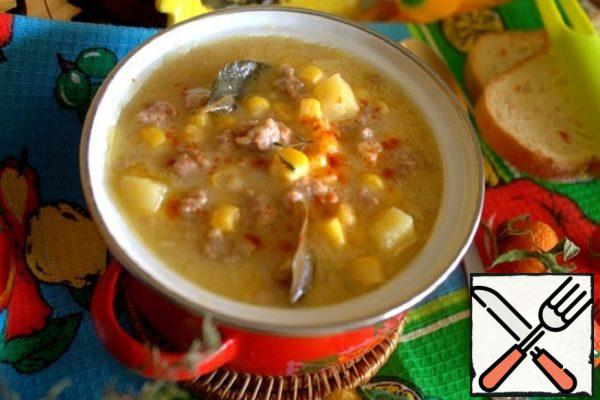 Chowder with Minced Meat and Corn Recipe