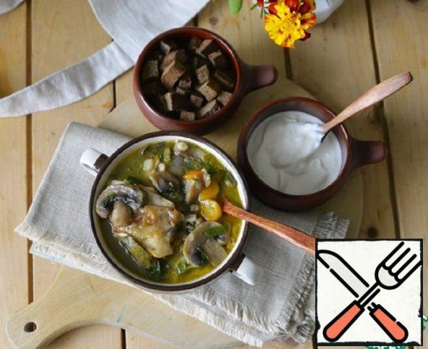 Chicken Soup with Pearl Barley and Mushrooms Recipe
