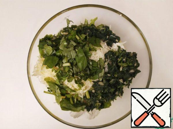 Add the ricotta, grated Parmesan, chopped fresh Basil, and roasted spinach and mix well.