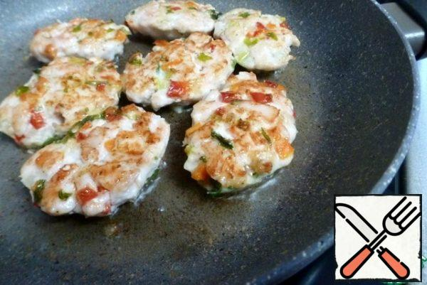 Fry over medium heat until Golden brown. I make small cutlets, they are well fried.