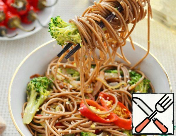 Soba with Broccoli and Bacon Recipe