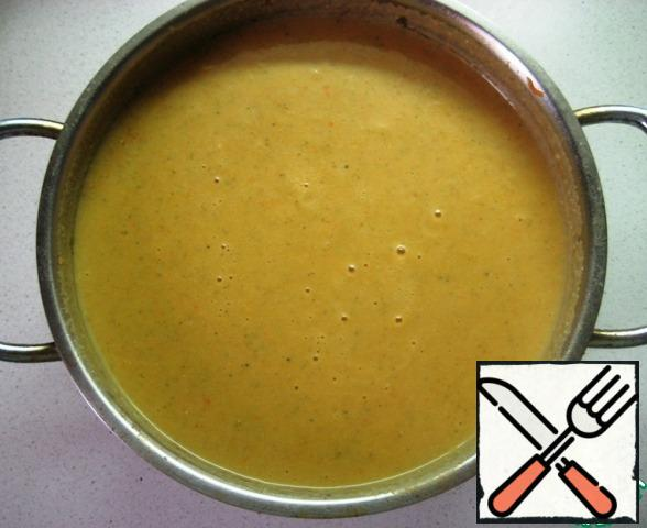 Puree the soup with a blender until smooth and serve with crackers, your favorite greens!