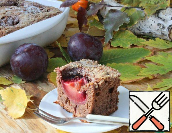 Plum Cake with Cocoa and Nuts Recipe
