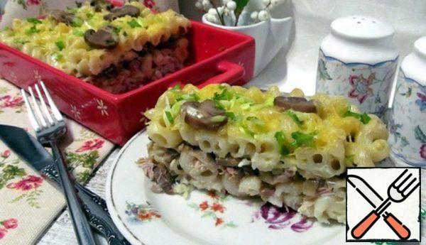 Casserole from Pasta with Chicken, Mushrooms Recipe
