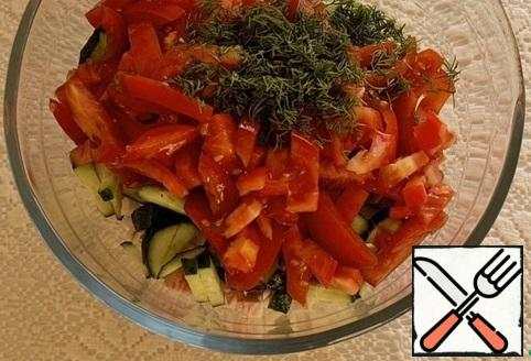 Cut all the ingredients into thin strips. Finely chop the greens. In a bowl, combine all the chopped ingredients.