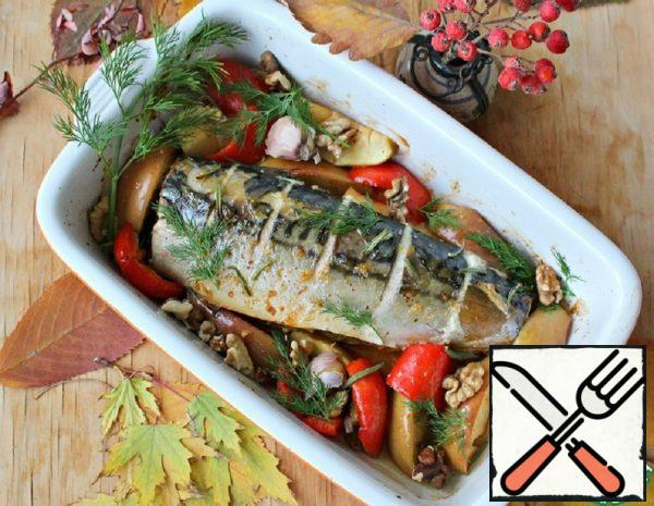 Mackerel baked with Nuts and Apples Recipe