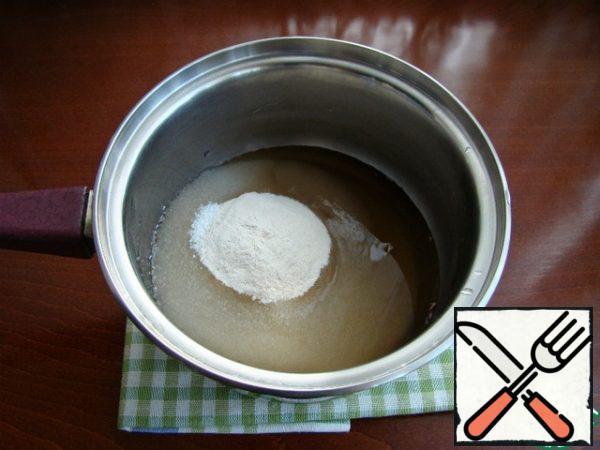 In a saucepan, combine sugar, agar-agar and lavender broth.