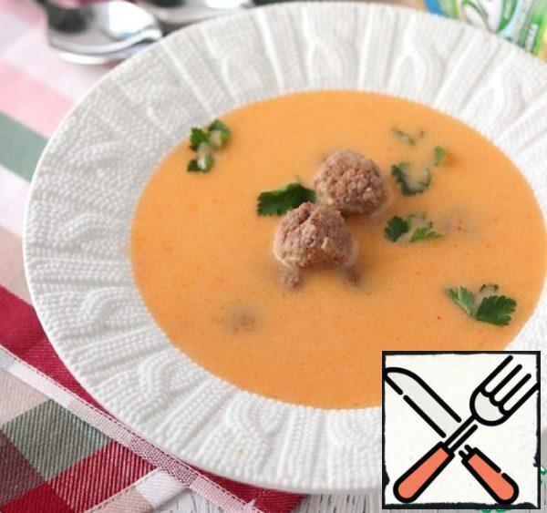 Vegetable Soup-Puree with Fried Meatballs Recipe